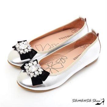 莎曼莎手工鞋【MIT全真皮】青春進行曲-綿羊皮鑽扣娃娃鞋 #15117 太空銀