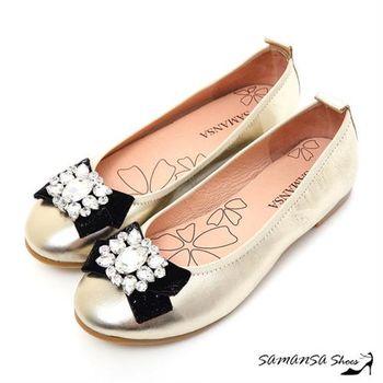 莎曼莎手工鞋【MIT全真皮】青春進行曲-綿羊皮鑽扣娃娃鞋 #15117 香檳金