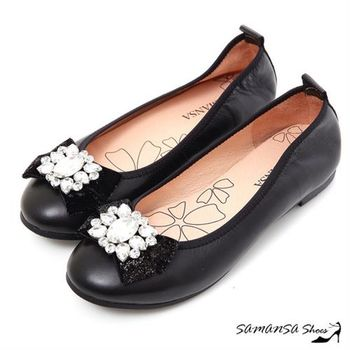 莎曼莎手工鞋【MIT全真皮】青春進行曲-綿羊皮鑽扣娃娃鞋  #15117 時尚黑