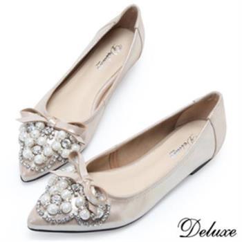 【Deluxe】全真皮珍珠蝴蝶結水鑽尖頭包鞋(金-灰)