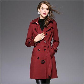 (現貨+預購 RN-girls)-歐美秋冬新款精品時尚個性雙排扣風衣外套