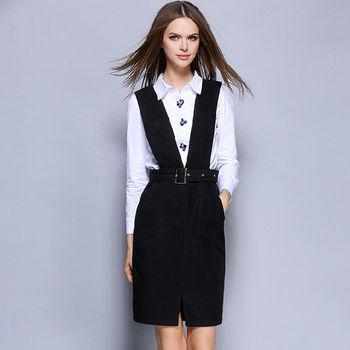 【M2M】OL風亮片長袖襯衫包臀吊帶裙兩件套