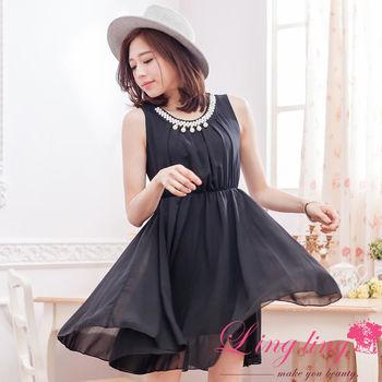 lingling中大尺碼 領口珍珠收腰及膝背心洋裝(典雅黑)A2831-05
