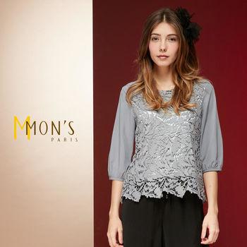MONS法式高雅女人縷空蕾絲上衣