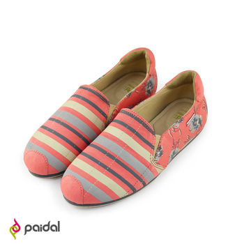 Paidal絢麗花繪條紋平底休閒鞋樂福鞋懶人鞋 - 粉紅/粉藍 - 2色任選