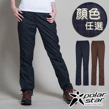 PolarStar 女 蘇格蘭格子保暖長褲『顏色任選』套裝褲│休閒西裝褲│3D立體剪裁 P13414  雙層保暖工法設計