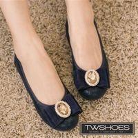 ~TW Shoes~金飾朵結 晚宴風平底娃娃鞋 ^#40 2色 ^#41 ^#40 K23
