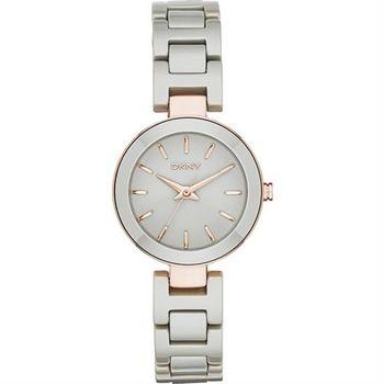 DKNY Stanhope 陶瓷佳人時尚腕錶-灰x玫瑰金/28mm NY2356