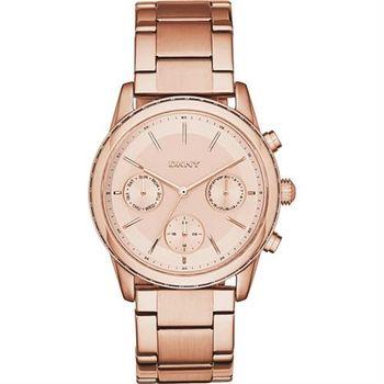 DKNY Rockaway 都會新貴時尚日曆腕錶-玫瑰金/38mm NY2331