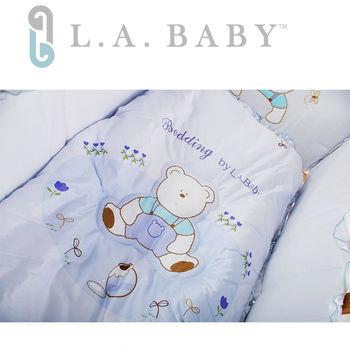 【美國 L.A. Baby】田園巴黎純棉五件式寢具組(S)(MIT 藍色)