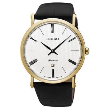 【SEIKO 精工】Premier 超薄石英簡約奢華皮帶腕錶(41mm/7N39-0CA0K)