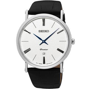 【SEIKO 精工】Premier 英倫紳士石英皮帶腕錶(40mm/7N39-0CA0P)