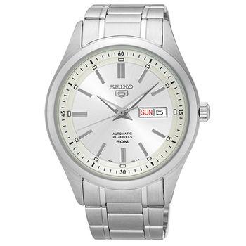 【SEIKO 精工】5號盾牌日曆簡約不鏽鋼機械腕錶(42mm/7S26-04M0S)