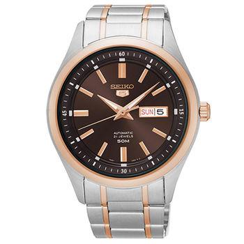 【SEIKO 精工】5號盾牌簡約日曆機械不鏽鋼腕錶(42mm/7S26-04M0P)