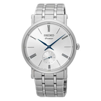 【SEIKO 精工】Premier 羅馬復古小秒針鋼帶腕錶(38mm/6G28-00X0S)