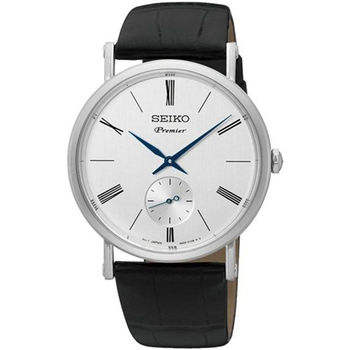 【SEIKO 精工】Premier 小秒針羅馬數字復古皮帶腕錶(38mm/6G28-00X0P)