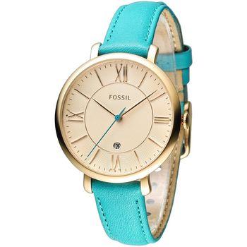 FOSSIL 玩美俏女孩時尚皮帶錶-金框/藍帶(ES3736)
