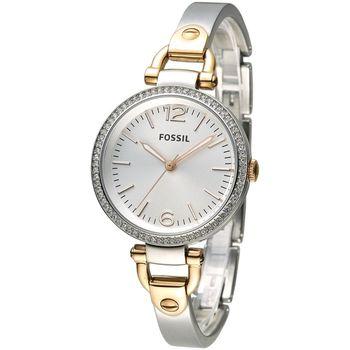 FOSSIL 心鑽交響時尚手鍊女錶-銀白+玫瑰金(ES3447)