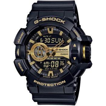 G-SHOCK 超人氣大錶徑GA-400系列腕錶-金X黑(GA-400GB-1A9)
