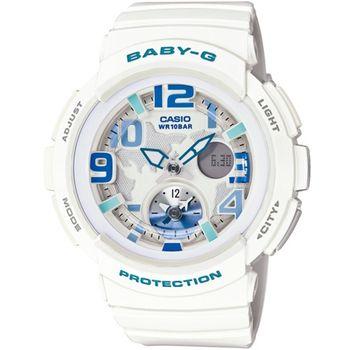 BABY-G BGA-190海灘旅行系列女錶-白