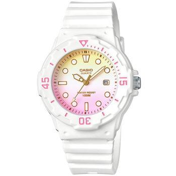 CASIO 魅力潛水風格型女腕錶(黃白粉漸層)_LRW-200H-4E2