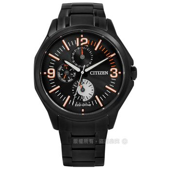 CITIZEN 星辰表★贈皮錶帶 / AP4005-54E / Eco-Drive‧率性沉穩三環不鏽鋼腕錶-黑