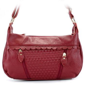 【HOUSEWIVES】甜美風壓菱格紋雙拉牛皮包(紅色)