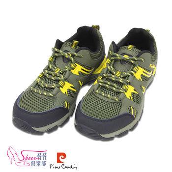 【ShoesClub】【167-PDL7399】皮爾卡登Pierre Cardin 超輕量透氣綁帶越野塑身運動鞋.綠色