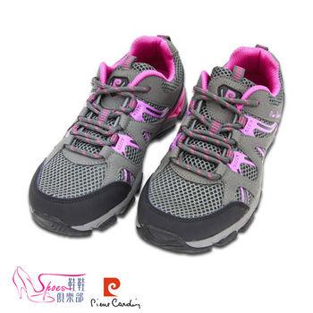 【ShoesClub】【167-PDL7399】皮爾卡登Pierre Cardin 超輕量透氣綁帶越野塑身運動鞋.灰色