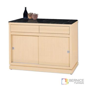 Bernice-辛克萊4尺推門碗盤收納餐櫃(石面)