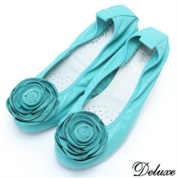 【Deluxe】全真皮玫瑰湖水綠娃娃鞋(綠)