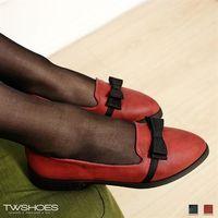 ~TW Shoes~素面蝴蝶結尖頭乳膠低跟尖頭鞋~K120B3023~