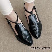 ~TW Shoes~別緻漆皮單釦繫踝低跟包鞋 ^#40 K120B3363 ^#41
