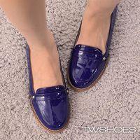 ~TW Shoes~簡約素色漆皮平底樂福鞋~K120B3372~