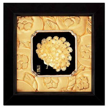 【鹿港窯】立體金箔畫-富貴吉祥(如意系列24x24cm)