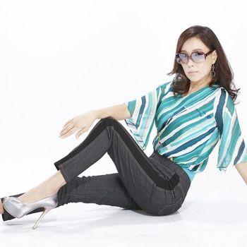 蘭陵時髦流行拼接顯瘦丹寧褲