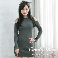 Candy 小鋪   小性感針織長袖挖肩合身洋裝 ^#40 灰 ^#47 黑 ^#47 條