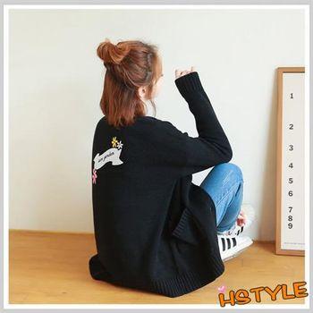 針織罩衫 刺繡排扣貼布針織外套GD6183-創翊韓都
