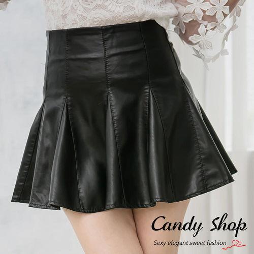 Candy 小鋪     經典百搭皮革A字短裙(S/M/L)-0097811