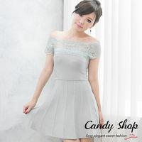 Candy 小鋪   針織一字領蕾絲A字裙擺洋裝 ^#40 灰 ^#47 黑 ^#47 紫