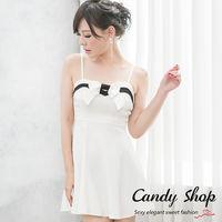 Candy小舖 新品特色款 氣質微甜細肩帶蝴蝶結小洋裝 ^#40 白 ^#47 黑 ^#4
