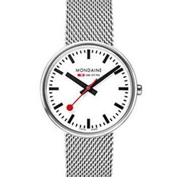 MONDAINE 瑞士國鐵MINI GIANT小巨人腕錶/35mm-霧銀鍊帶 (76311BM)