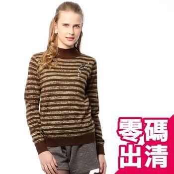 【KIINO】混織條紋縫飾針織羊毛衫(咖啡3822-1044)