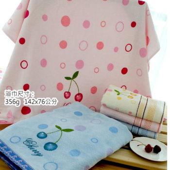 【台灣興隆毛巾專賣】圓點櫻桃剪絨浴巾--粉色(單條)