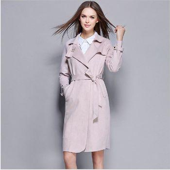 (現貨+預購 RN-girls)-歐美秋裝新品時尚純色大翻領收腰繫帶百搭風衣外套