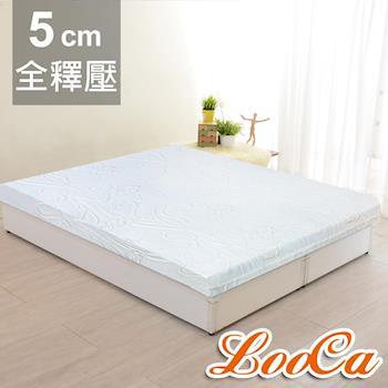 《贈枕+毯》LooCa 溫感塑型5cm緹花全釋壓記憶床墊-雙人