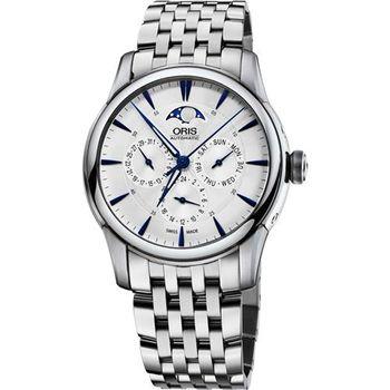 ORIS Artelier 藝術家月相盈虧腕錶-銀x藍時標/40.5mm 0178177034031-0782177