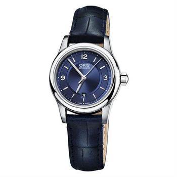 ORIS Classic 都會機械女錶-藍/28.5mm 0156176504035-0751485