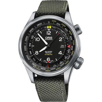 ORIS ProPliot Altimeter高度儀飛行錶/軍綠帆布-47mm 0173377054134-0752314FC