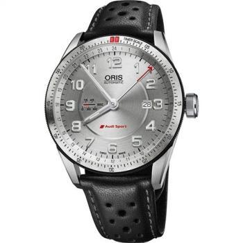 Oris Audi Sport GMT 賽車聯名錶-銀x黑44mm 0174777014461-0752287FCS